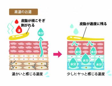 高温のお湯は皮脂が根こそぎ剥がれる